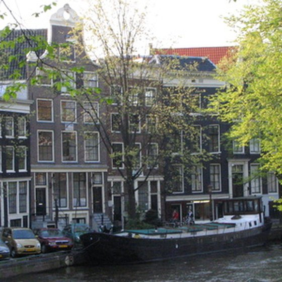 Amsterdam canal and homes.
