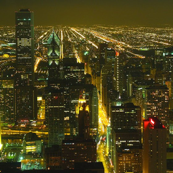 Chicago's skyline lights up the night.