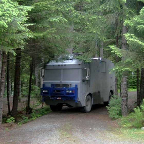 A RV camper on its way to a campsite.