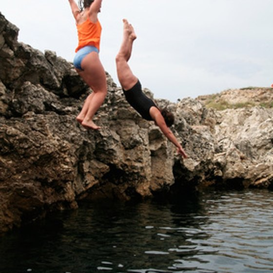 Locals enjoy some cliff diving