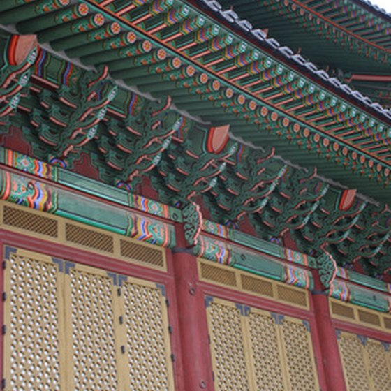 Traditional buildings in Seoul have many colorful details.