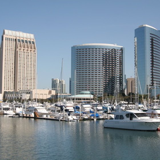 The San Diego skyline and San Diego Bay.