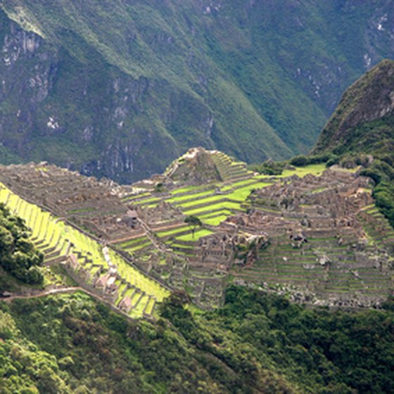 An aerial view of Machu Picchu.