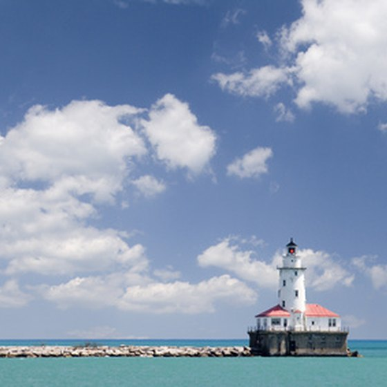 A view of a lighthouse from Navy Pier in Chicago is one site to see.