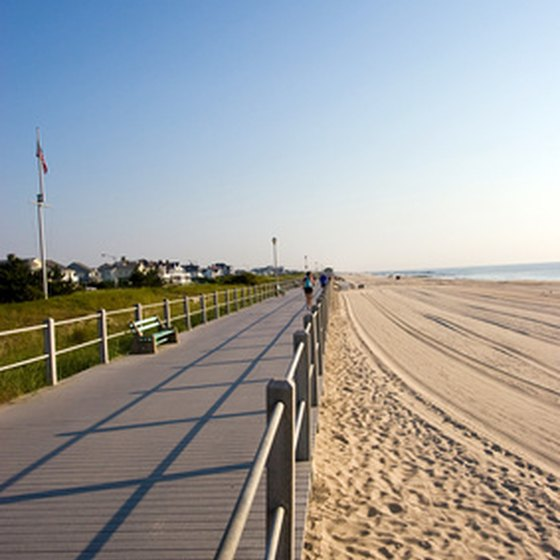 Beach and boardwalk at the Jersey Shore