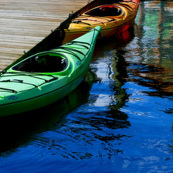 Visitors can kayak along The Woodlands Waterway.