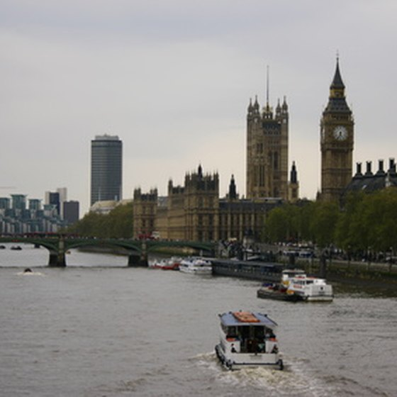 A view of Big Ben and Parliament from across the River Thames.