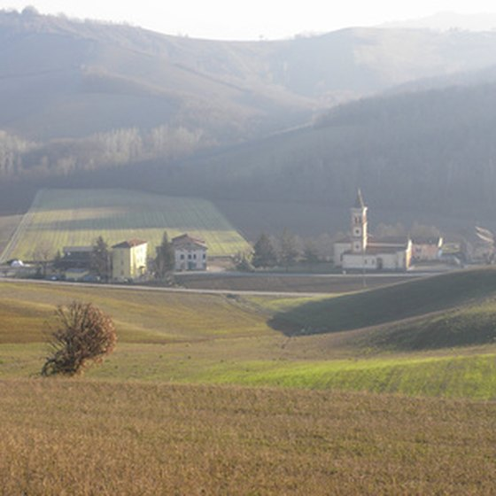 Traditional family farms dot the countryside outside of Parma.