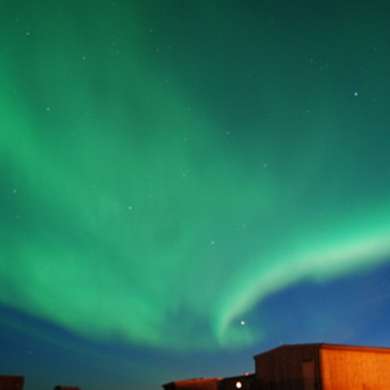 The northern lights can be seen on display during the winter months in Fairbanks, Alaska.