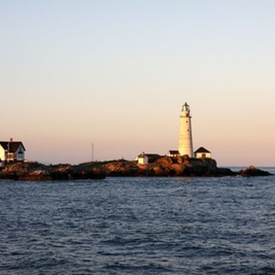 A lighthouse protecting the Boston Harbor