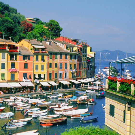 Colorful towns such as Portofino line the shores of the Italian Riviera.