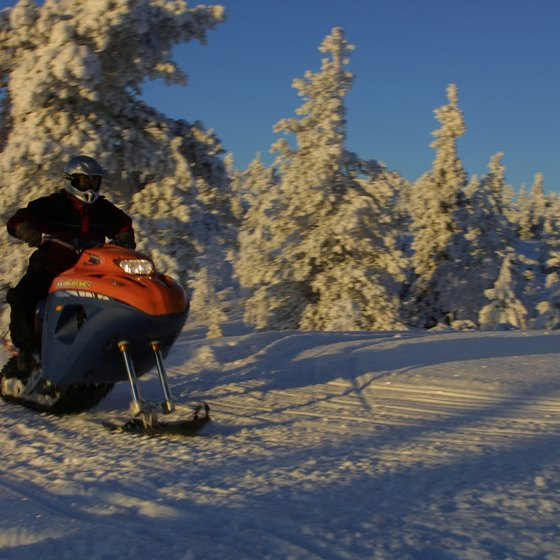 Bear Lake features year-round recreation, including winter sports like snowmobiling.