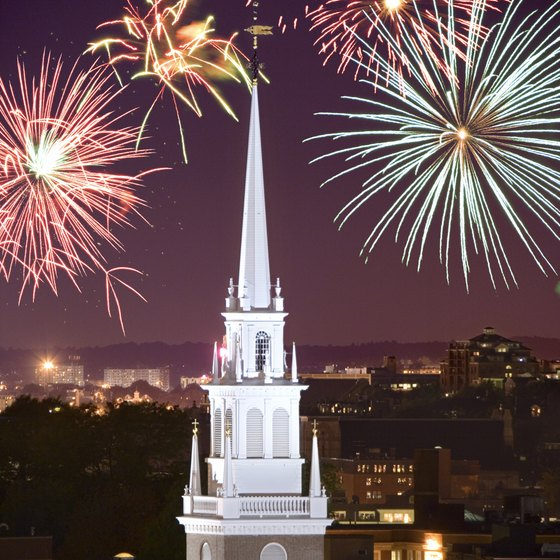Cities throughout Massachusetts celebrate the state's history with fireworks displays.
