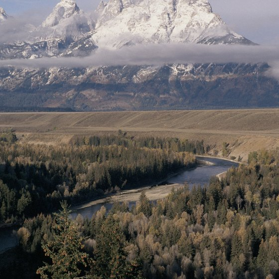 The Teton range dominates the surrounding landscape.