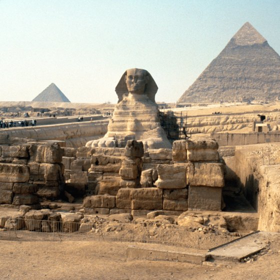 Some of the world's best known pyramids are located at Giza.