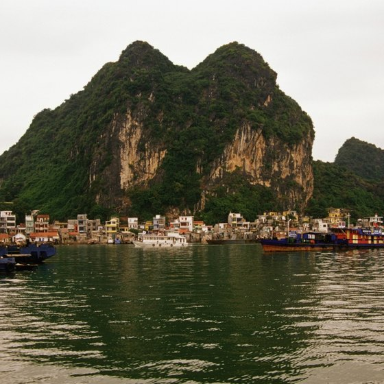 Halong Bay features caves and islands to explore.