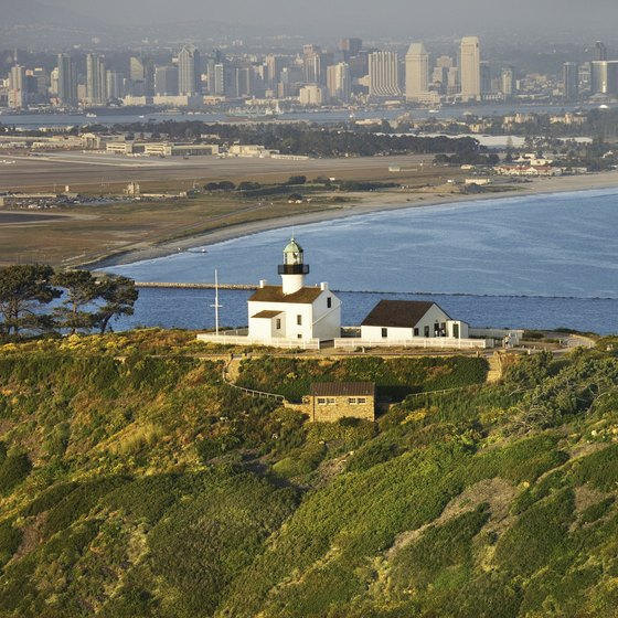 The Old Point Loma Lighthouse at the Cabrillo National Monument provides breathtaking views of the San Diego area.
