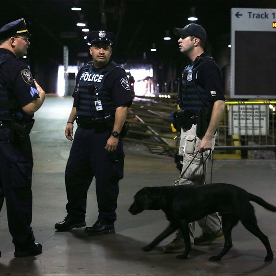 The Amtrak Police Department patrols stations with sniffer dogs.
