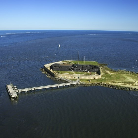 Aerial view of Fort Sumter in Mount Pleasant, South Carolina