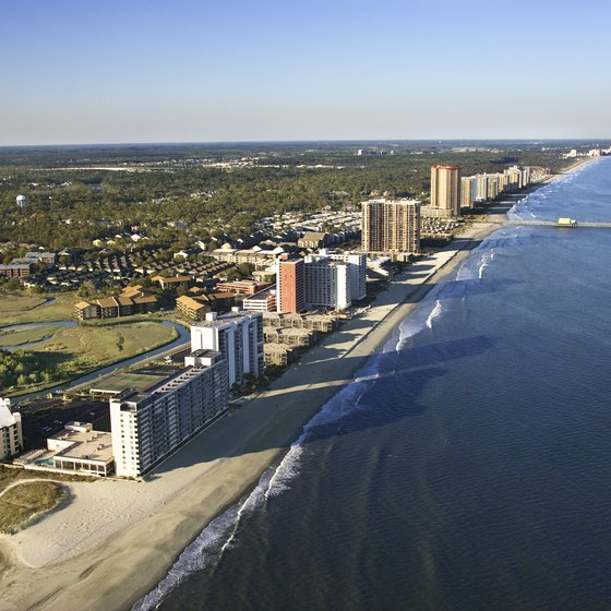 The main strip in Myrtle Beach hugs the Atlantic coastline.