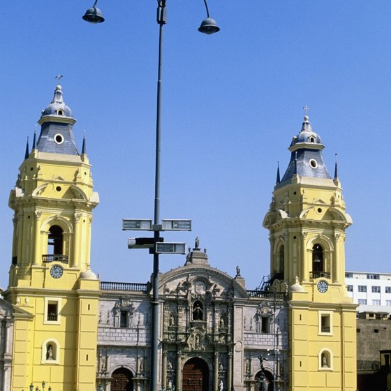 Lima Cathedral is located on the Plaza de Armas.