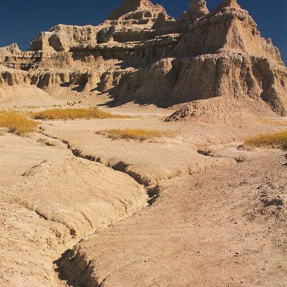 South Dakota's Badlands are largely devoid of vegetation.
