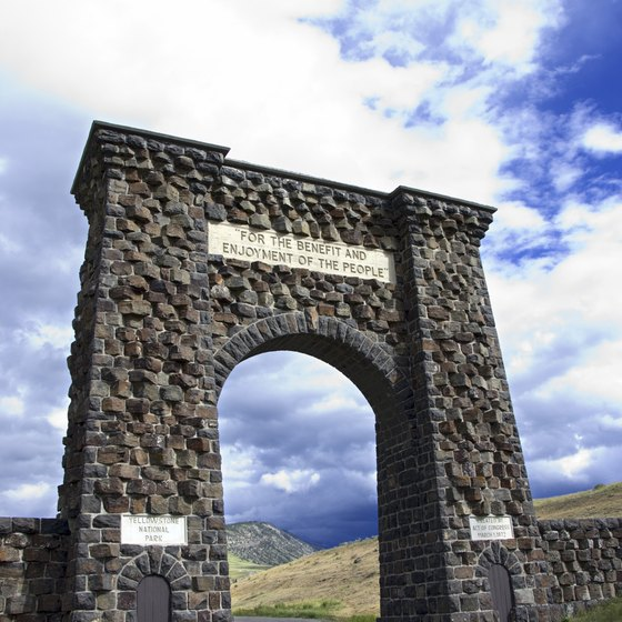 This stone archway welcomes visitors into Yellowstone from Gardiner, Montana.