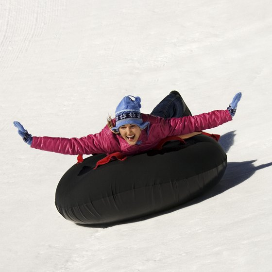 Inner tubing is popular in California snow parks.