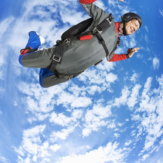 Indoor skydiving simulates the free-fall portion of parachute diving.