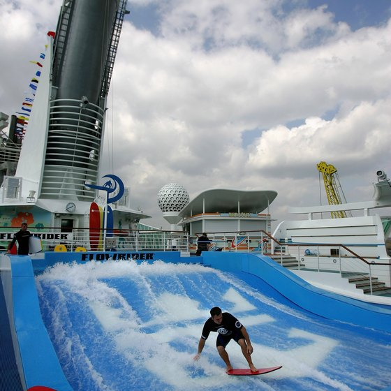 Teens can try surfing on some Royal Caribbean ships.