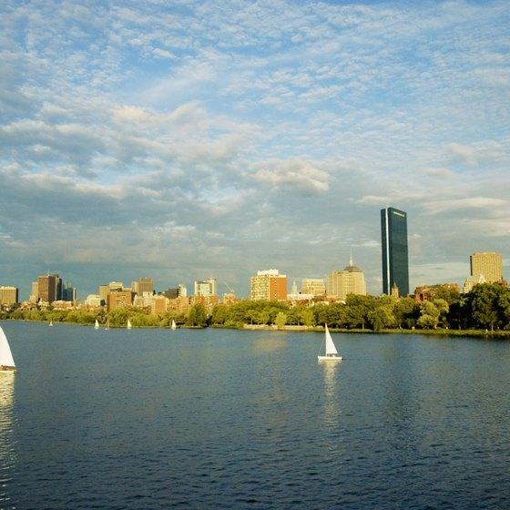 The John Hancock Tower stands out along the Back Bay skyline.