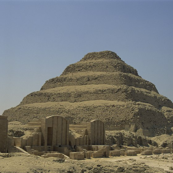 The pyramids in Giza, Egypt, are a short drive from Cairo.