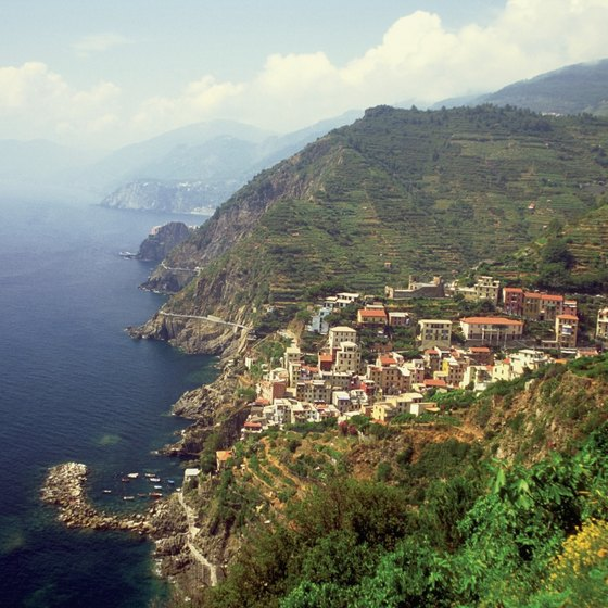 A view of Riomaggiore as seen from a high trail along the Italian Riviera.