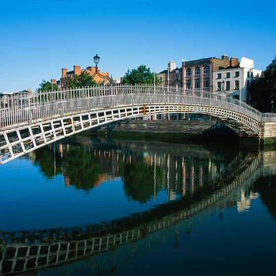 Grafton Street is a convenient walk from the Ha'penny Bridge over the Liffey.