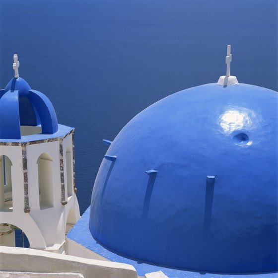 The famous blue-domed churches of Santorini are a major island attraction.