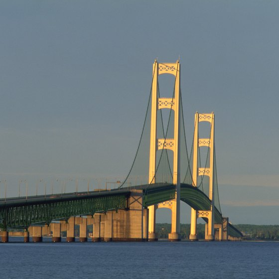 Mackinac Bridge is extra bright at night during the Parade of Lights in September.