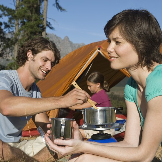 A camp kitchen box holds you pots, pans, stove, utensils, plates, cups and other cooking equipment.