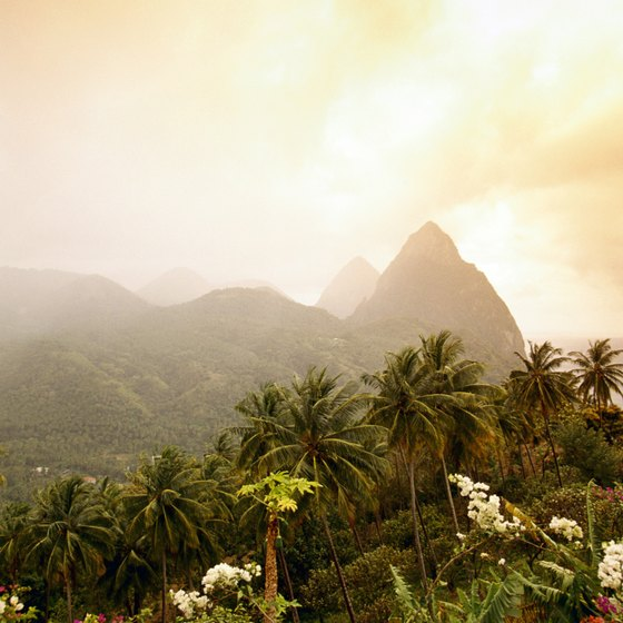 The Pitons are twin peaks on the island of St. Lucia.