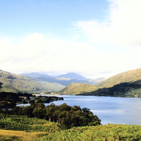 Highlands surround Scotland's long, deep, freshwater lakes.