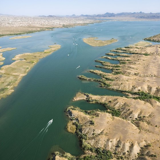 Rent a boat to enjoy Lake Havasu's desert scenery.