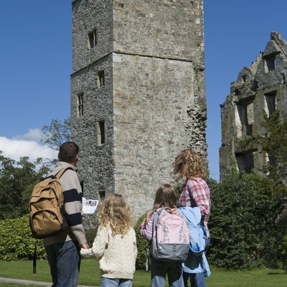 Visit castles and fortresses as you travel by bus in Ireland.