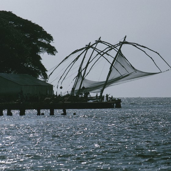 Traditional fishing vessels in Cochin, India