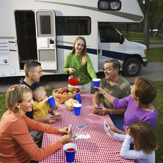 Class C motor homes are large enough for families.