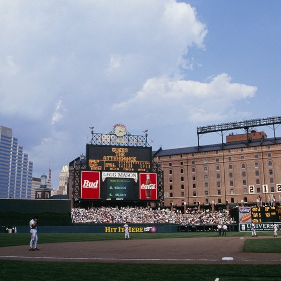 An opening in the outfield wall at Camden Yards frames downtown Baltimore.