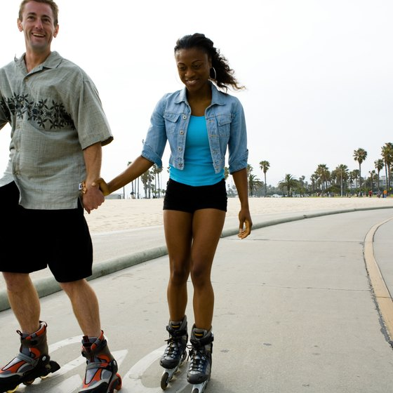 Roller-skating is a popular pasttime at Venice Beach.