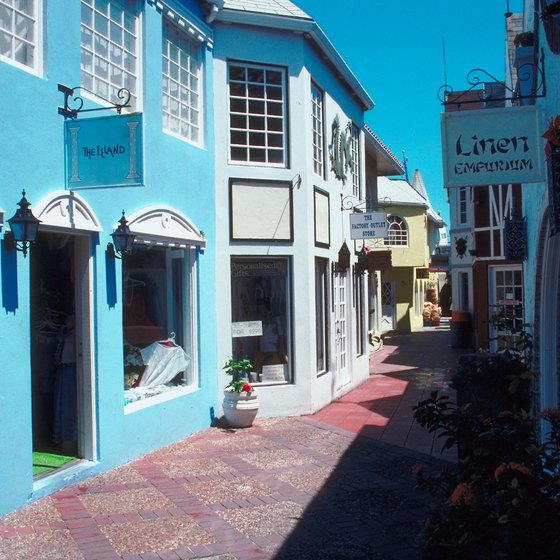 Colorful shops line the narrow streets of Nassau.