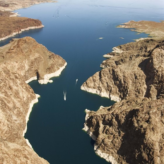 As seen from the air, these boats are specks against the backdrop of Lake Mead.