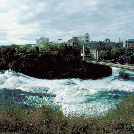 The Spokane River Centennial Trail meanders along the river and through the city.