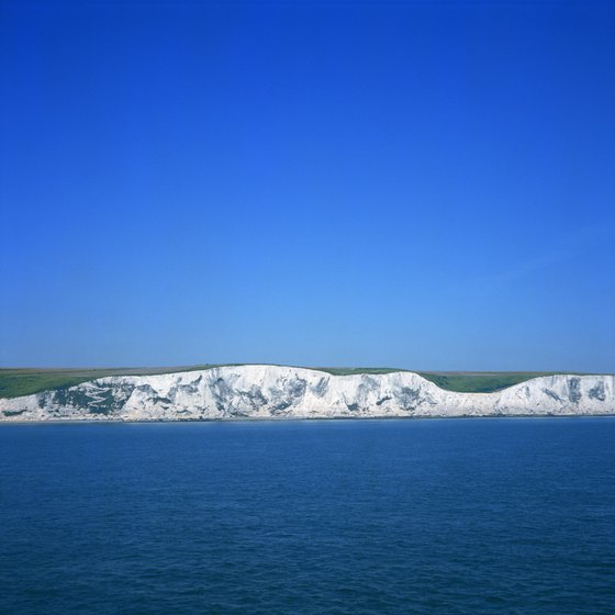 The White Cliffs of Dover are visible from the north shore of France on clear days.