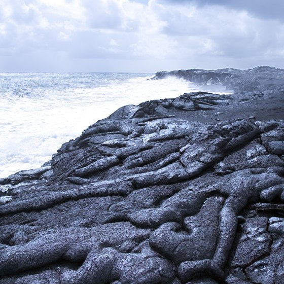 Walking on hardened lava flows is a popular attraction on the Hawaiian islands.